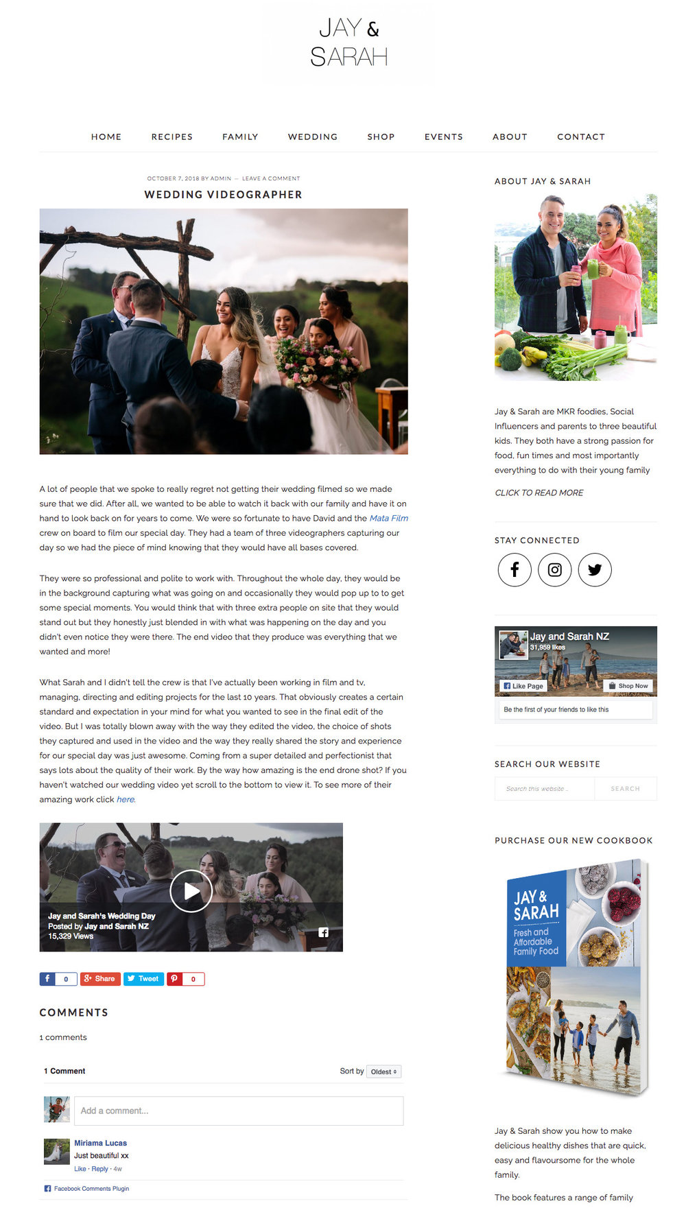 Read the full article here  http://www.jayandsarah.nz/wedding/videographer-mata-films/