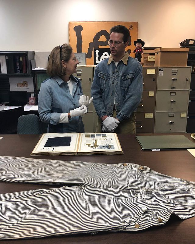 Recently we paid a visit to Lee Jeans HQ to contribute a pair of late 1920s overalls from our personal collection to their historical archive • Pictured are some of the images we were able to share from our trip including the overalls, our host and historian Jean Svadlenak and a 1928 sales book used while researching this garment