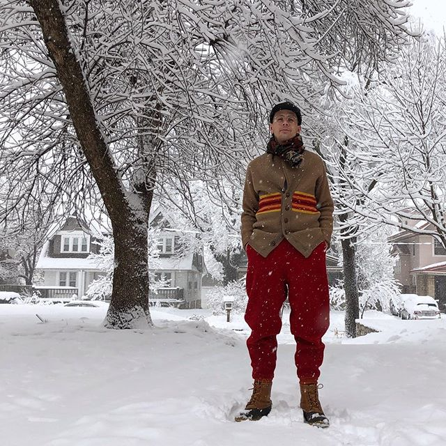 Snow Day, Man • 80s Bean Boots, 90s Polo Scarf, 70s Pendleton Cardigan, 40s Soo Woolen Hunting Pants and a newer Kromer Cap ⛄️ #cablescloset