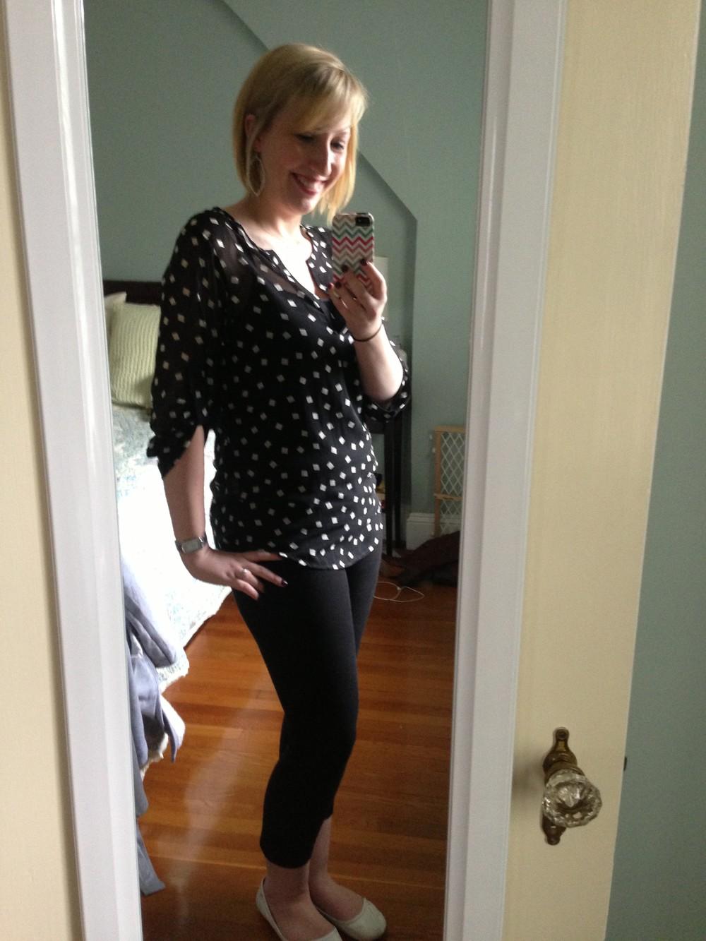 Ivy Square Print Tab Sleeve blouse