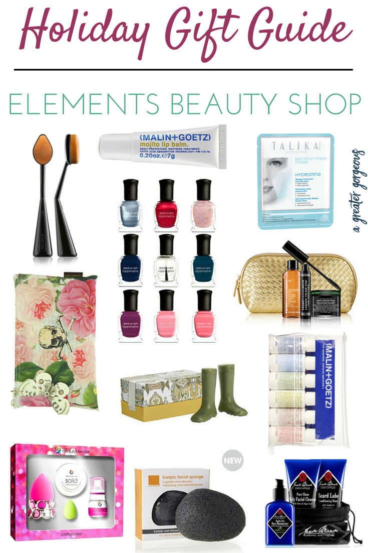 Looking for the perfect, unique gift for your beauty-loving friend? Look no further! Use code GORGEOUS online for 20% off your entire purchase December 3-December 10, or use it any time for 10% off! Shop Elements of Carytown at www.elementsbeautyshop.com and click through for some great gift ideas!
