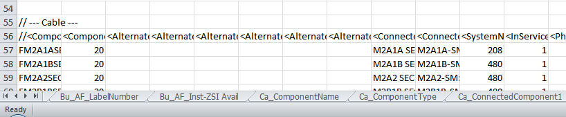 Reformatted Export XLSX showing the section prefaced sheet names.