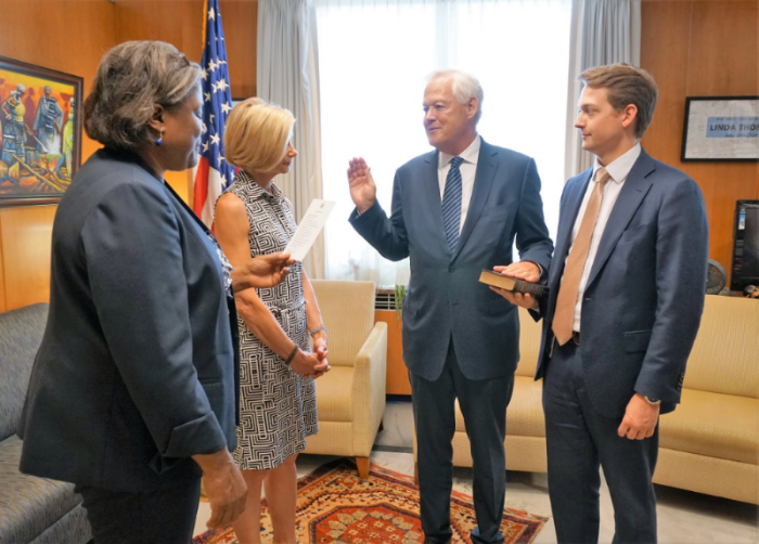 Mr. Leslie was sworn in for a second term as USADF Board Chairman on June 3, 2016 at the U.S. Department of State.