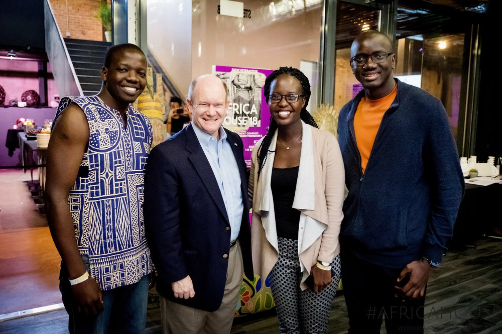 Young entrepreneurs Wesley Owiti, Brenda Katwesigye and Kemo Toure meet with Senator Chris Coons at Africa House event in Austin, TX. Photo Credit: Adam Kealing