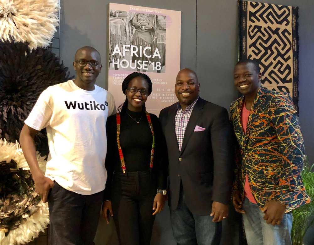 Three young African entrepreneurs, sponsored by USADF, and President/CEO C.D. Glin attended the first ever Africa House event at 2018 SXSW in Austin, Texas. Photo credit: Julia Tanton