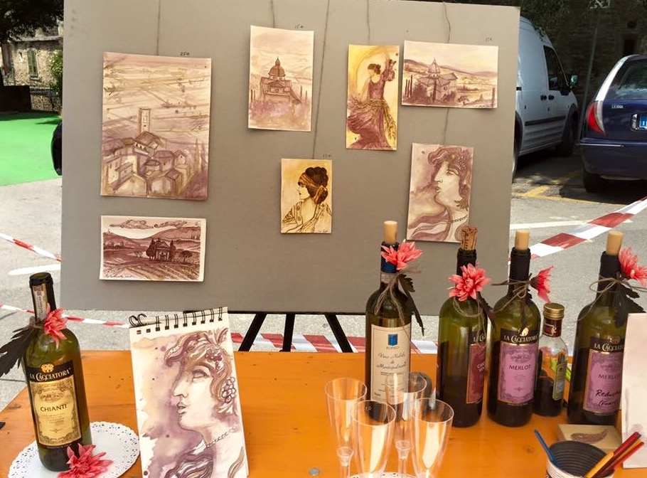 Painting with wine