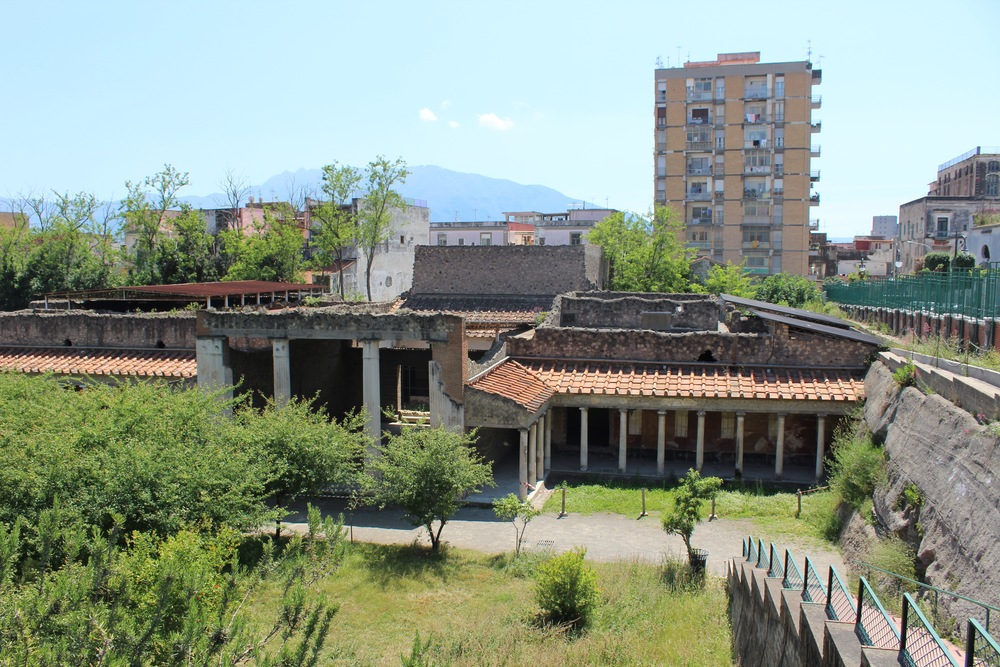 Enter the VIlla Oplontis from Via Sepolcri. Buy a ticket at the small office and enter via a staircase which descends into the ruins.