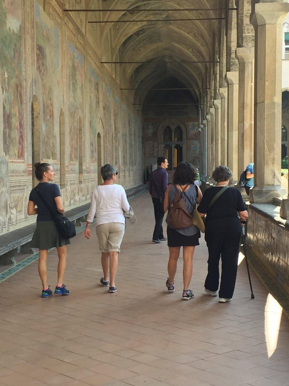 Inside the majolica cloister of Santa Chiara