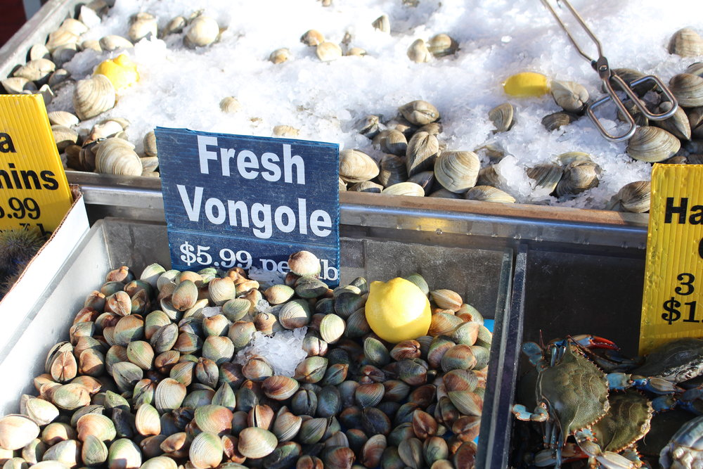 Vongole at Cosenza's Fish Market on Arthur Avenue in the Bronx's Little Italy.
