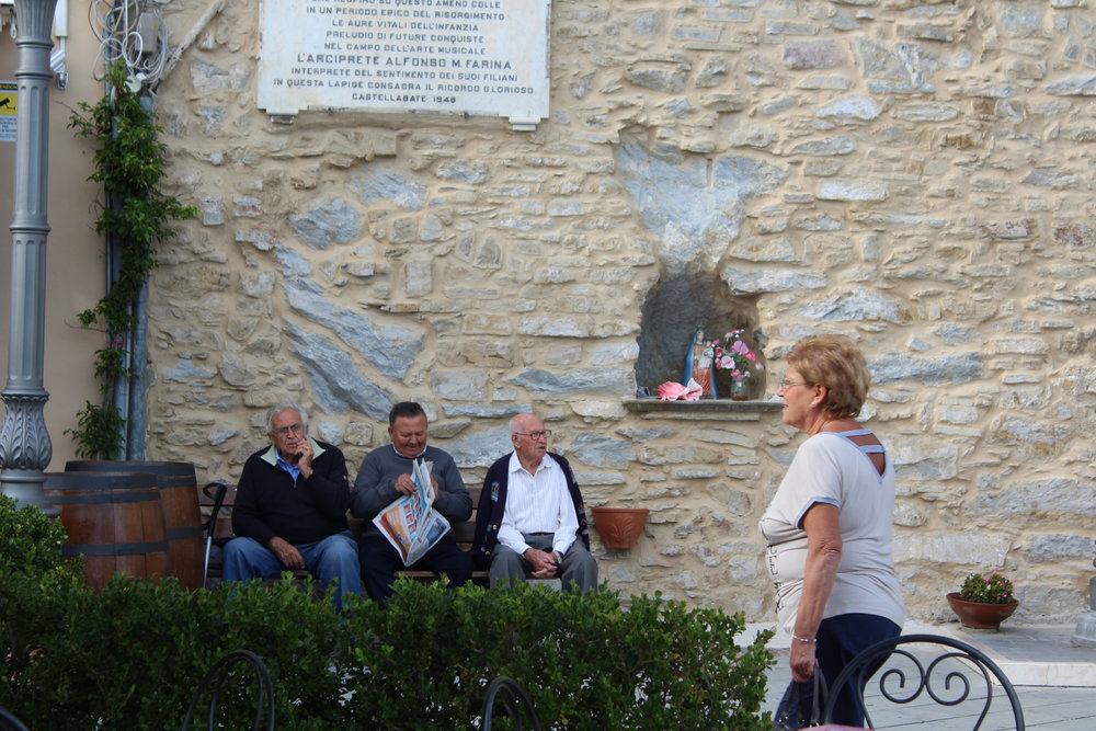 The piazzetta in Borgo Castellabate where an altar to the Virgin Mary is carved into the wall