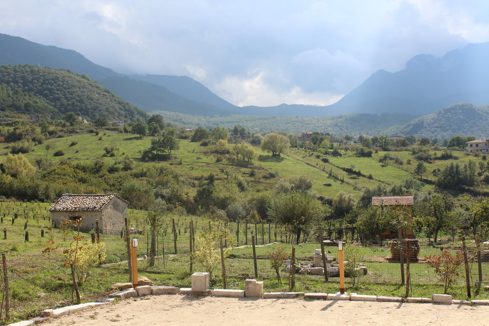 View from our farm-to-table lunch at Nonna Pina Country House. Elevation in Irpinia keeps the summers cool and dry.