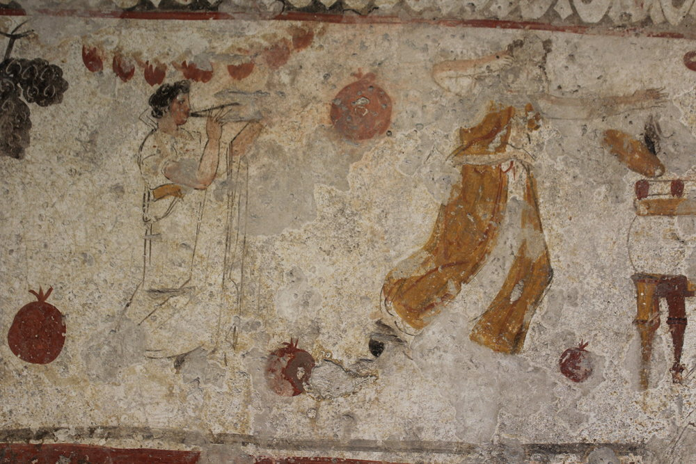 Wall paintings from Roman tombs excavated at Paestum