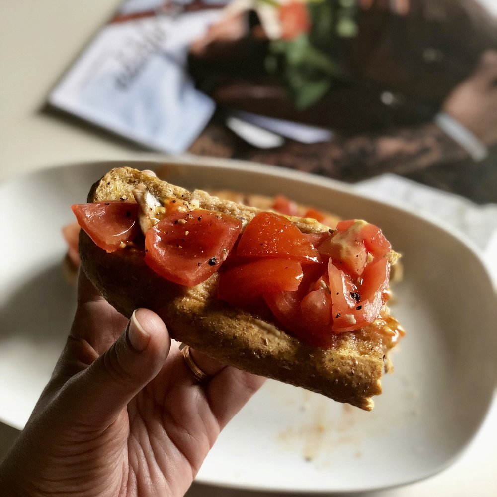 Freselle from Addeo Bakers with chopped tomatoes make a quick, easy lunch.
