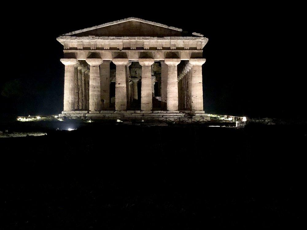 Paestum temples at night