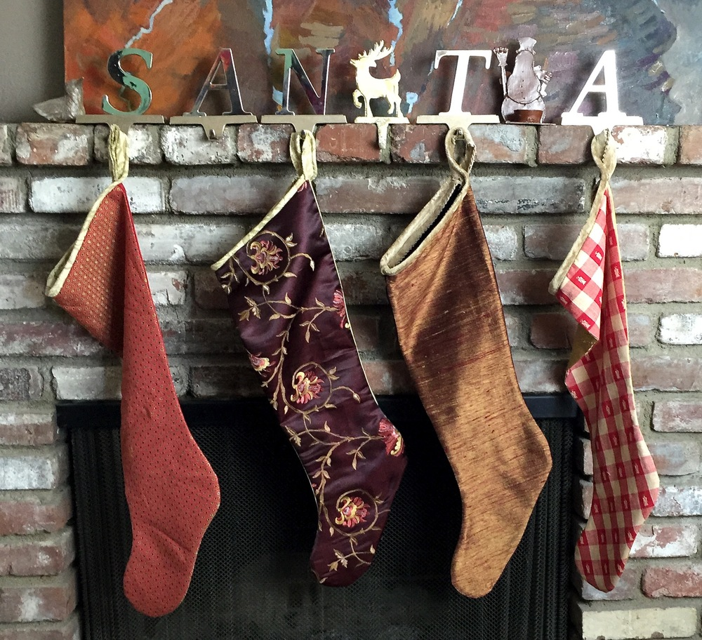 These stockings have a red and gold color story. But we have many more colors.