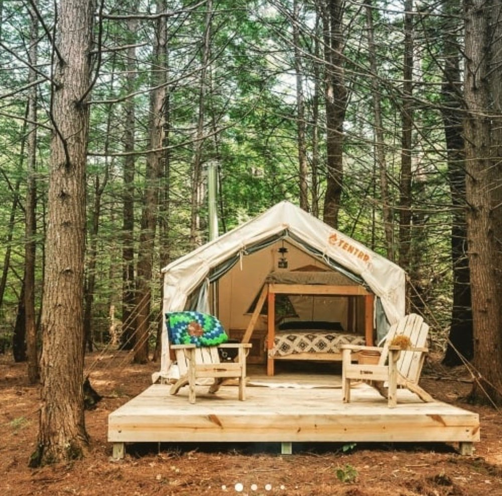 Get into the beautiful wilton, nh wilderness with This two night camping package. The tent sleeps up to four, and the package also includes:  S'mores Firewood 2 Reiki Sessions 'Lake Life' Shirt $40 Equipment rental from Eastern Mountain Sports   Value: $470