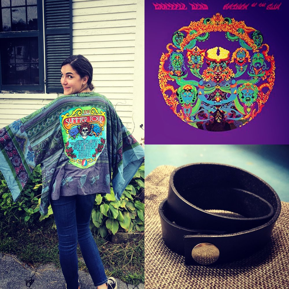 For the music lovers out there, we have this grateful dead kimono from  mountain girl clothing , 50th anniversary 'anthem of the sun' Grateful Dead album on vinyl, double-wrap Leather wrap bracelet from  Camaraderie , and hand-made dream catcher by donna cudworth (not pictured).   Value: $190