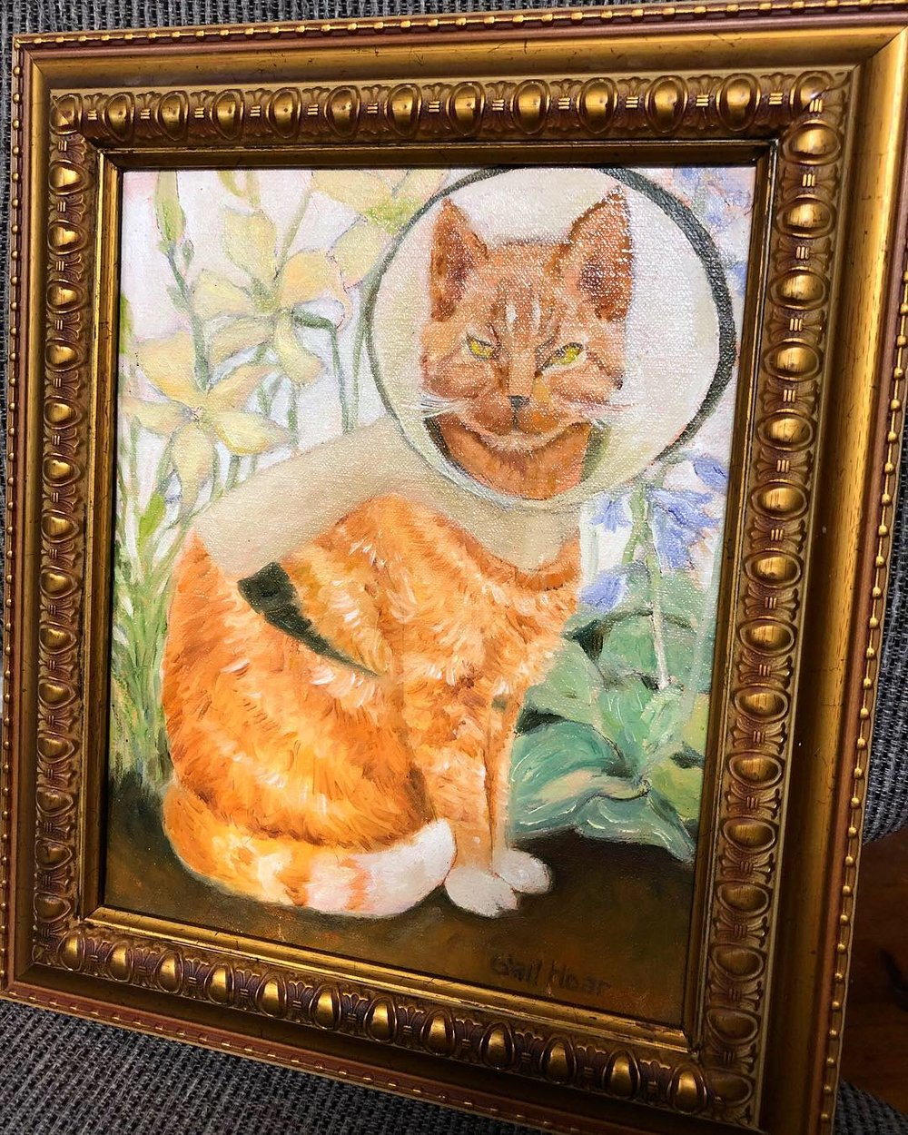 In memory of jimmy kitty cone cat, our beloved unofficial Andy's mascot, we have this painting, done by gail hoar.    Value: Priceless