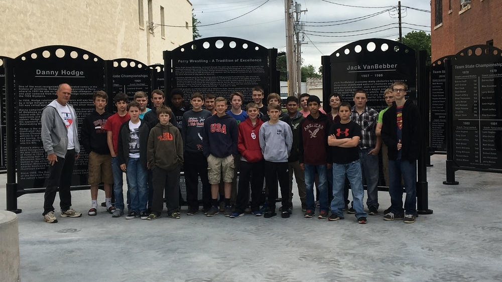 Perry Junior High School Wrestlers visit Perry Wrestling Monument Park
