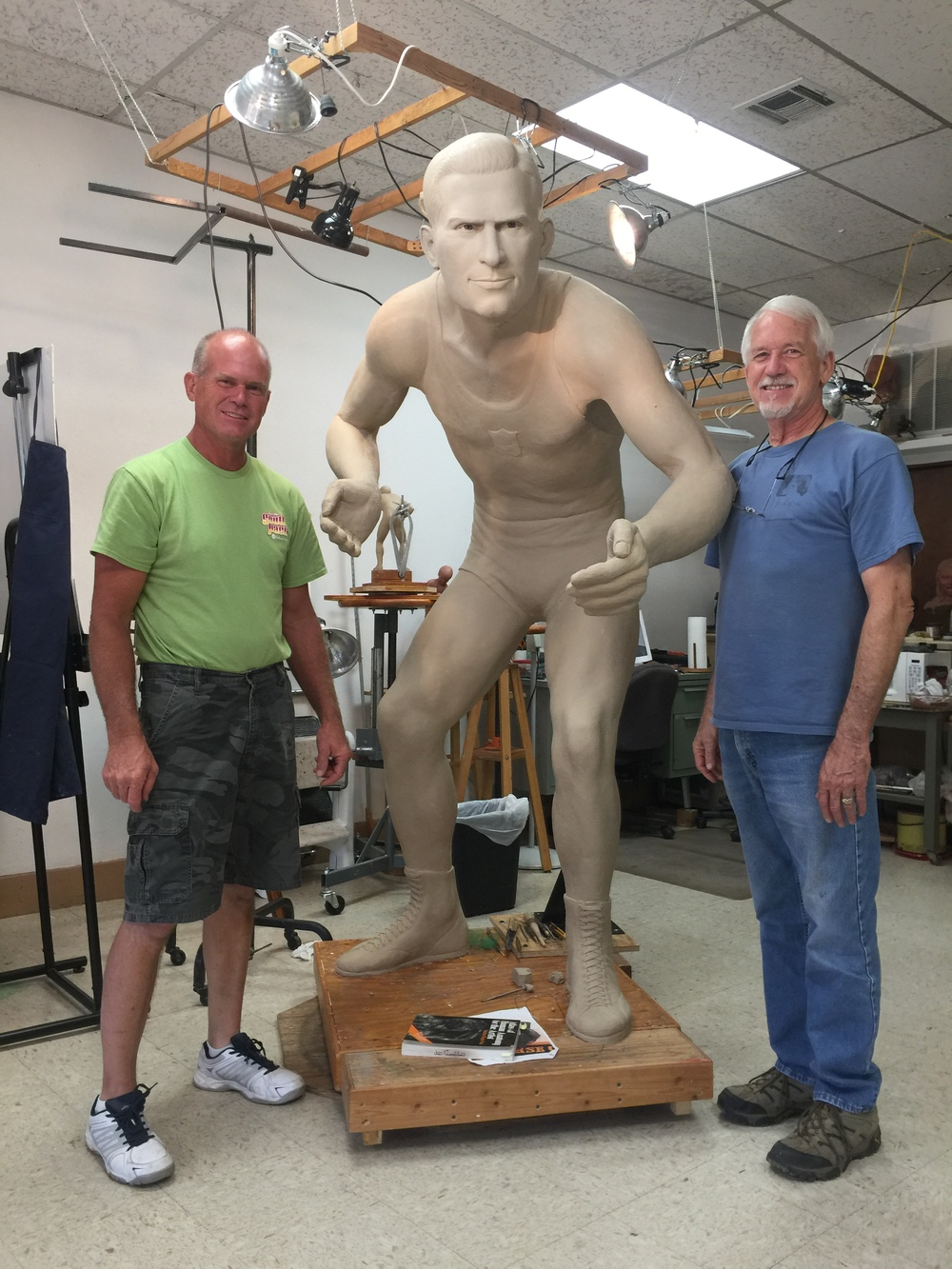 Ben Passow with Jack Van Bebber clay statue and Jim Franklin (Sculptor)