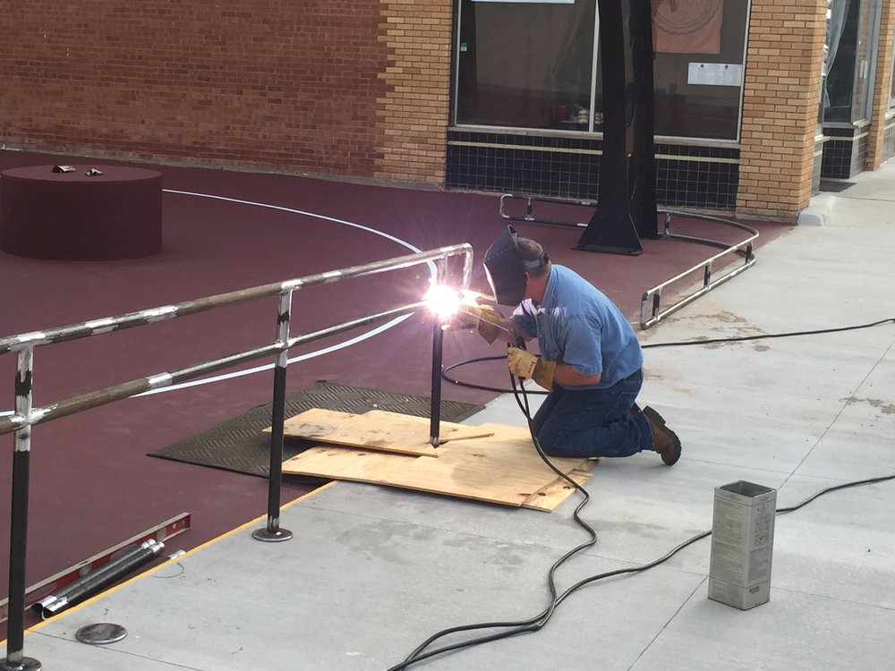 Danny Jarrett from LMS Products welding our handrails.