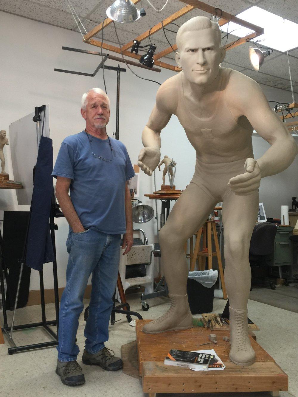 Jim Franklin (Sculptor) with Jack VanBebber clay statue