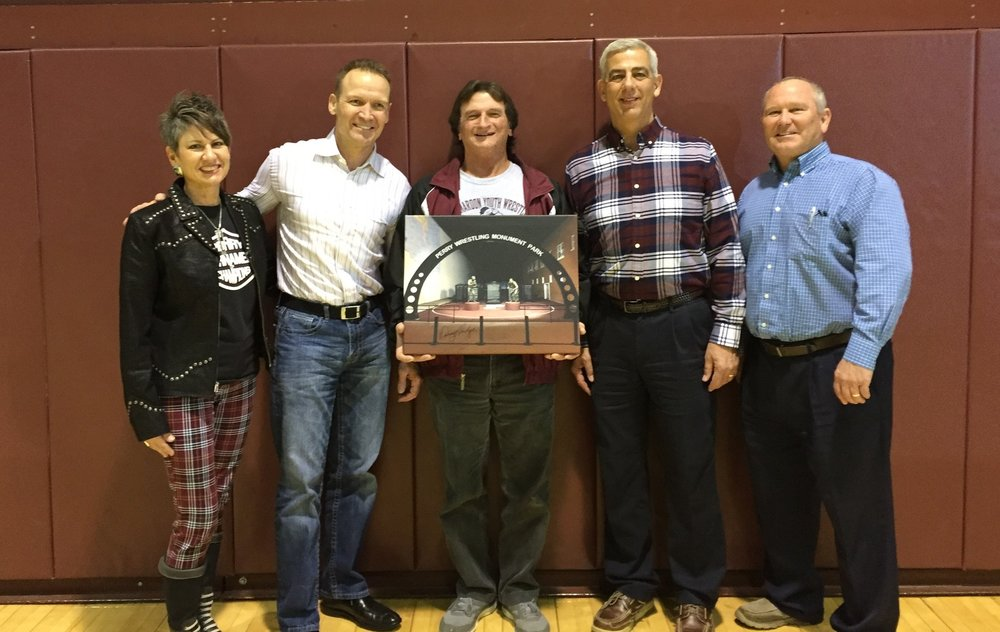 Perry Wrestling Foundation Members with Don Huff   L-R: Leslie Fleming, Chance Leonard, Don Huff, Roger Tetik, Mark Kirk
