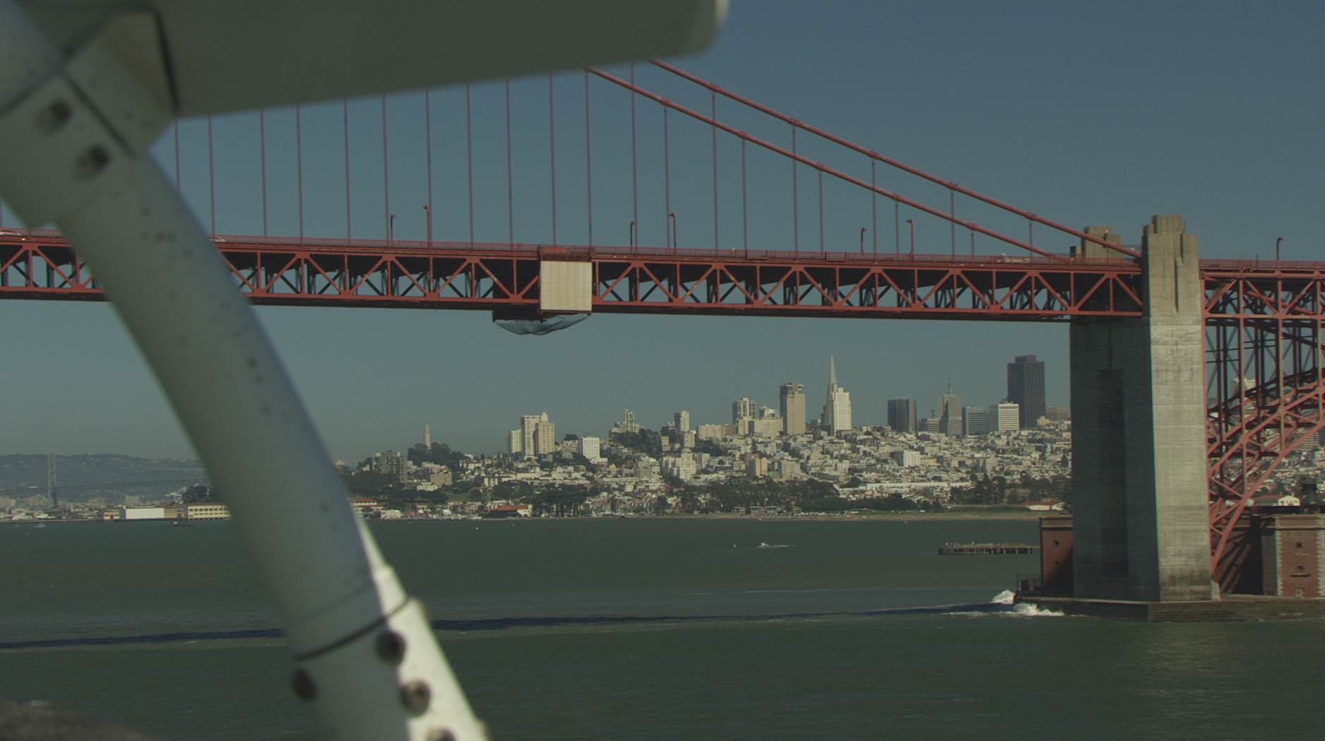 Helicopter shoot with Cineflex over Golden Gate Bridge
