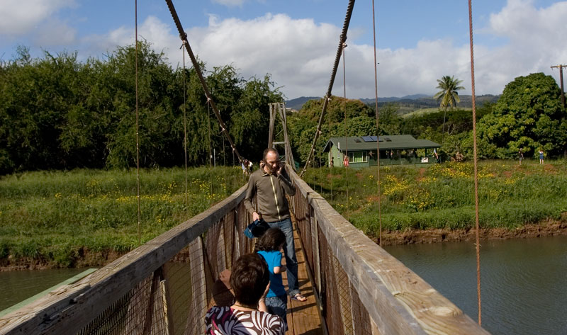 hawaii hanapepe swinging bridge family