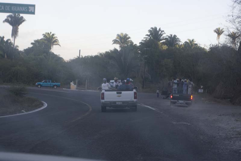 Hwy 200 around la Manzanilla. The tough life of mexican labor (less than $2 a day)