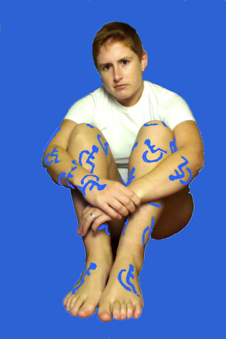 Portrait of Arianna with the Access Symbol on her arms and legs with a blue background. Image from Temporary (Visible Disability) Tattoo project.