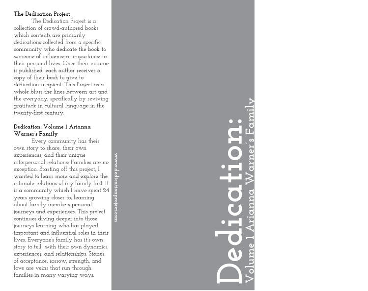 Back cover of Dedication: Volume 1 Arianna Warner's Family. Background grey and white.