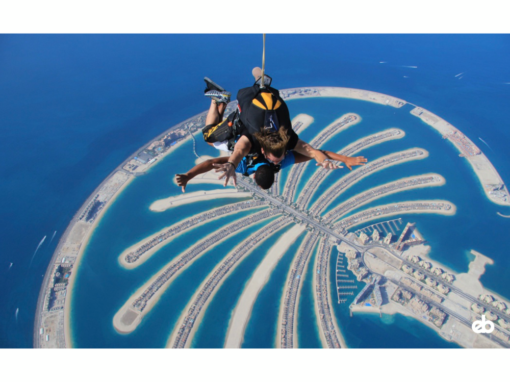 my first ever skydive over palm island in dubai is something i'll never forget