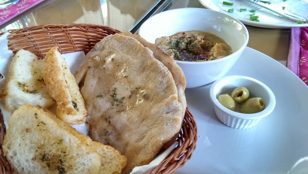 Hummus with Pita Bread @ Bohemyan Blue, Alibaug