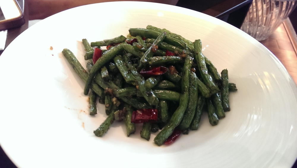 Beans tossed in garlic and red chillies @ Ming Yang