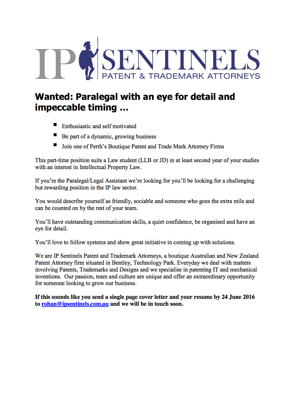 IP Sentinels Patent And Trademark Attorneys Is Seeking A Law Student In At  Least Their Second Year Of Study (JD Or LLB) With An Interest In  Intellectual ...