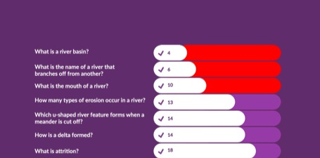 What do your students need your help with? Question by question, or topic by topic, see what the class struggled with, with areas that received the most wrong answers, prioritised.