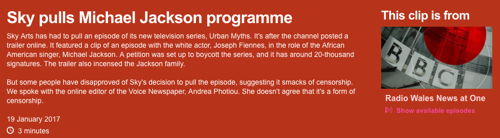 Listen to Andrea speak to BBC Radio Wales about Sky Arts' decision to pull their televised Michael Jackson parody - just click on the image above.