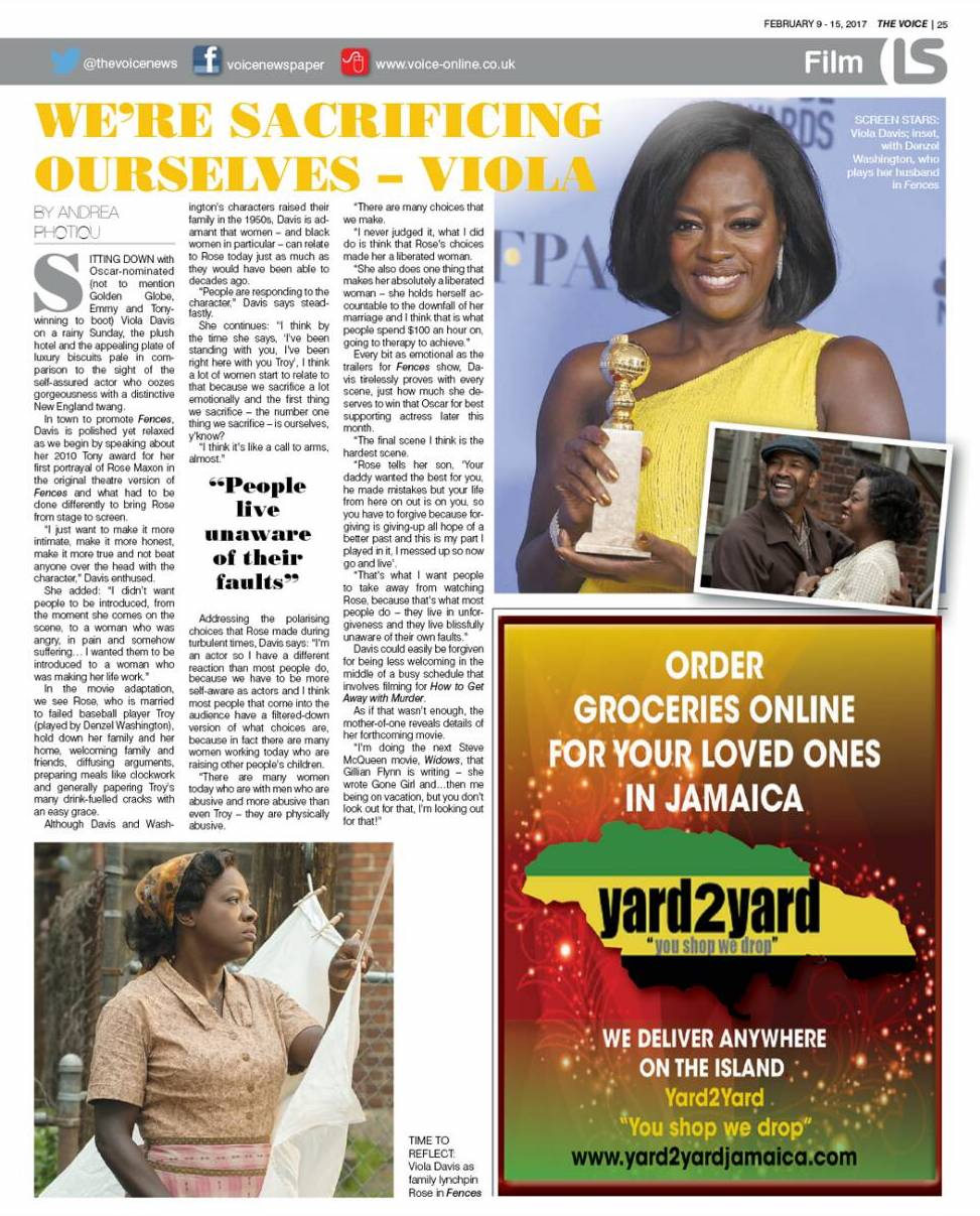 Read Andrea's interview with Viola Davis on p. 25 of the Feb. 9-15, 2017 issue of The Voice, available on the app - click  here  to download or click on the image above to read the online version.