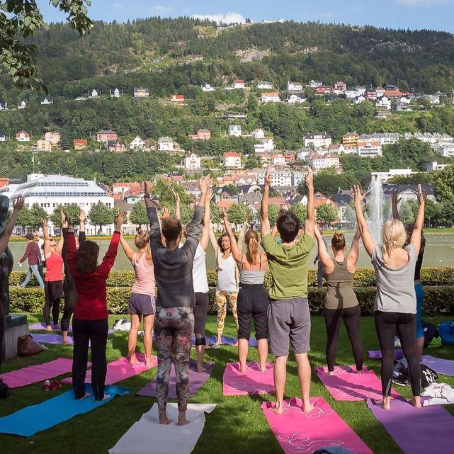 Outdoor Yoga in Bergen (Norway)  - On sunny days, which weren't so often, but very memorable!