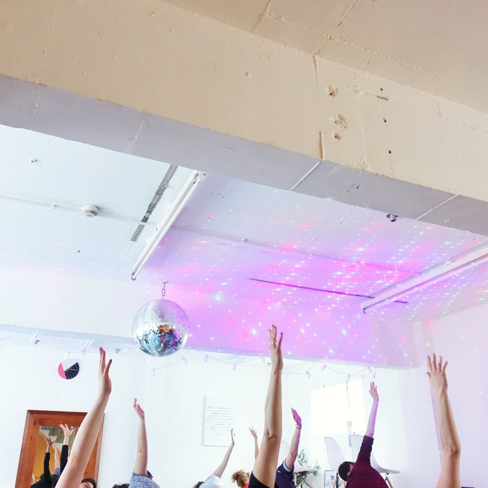 Community Yoga in Brighton (UK) - Chicken shops, a startup school, a women´s co-working space and at an acting school.