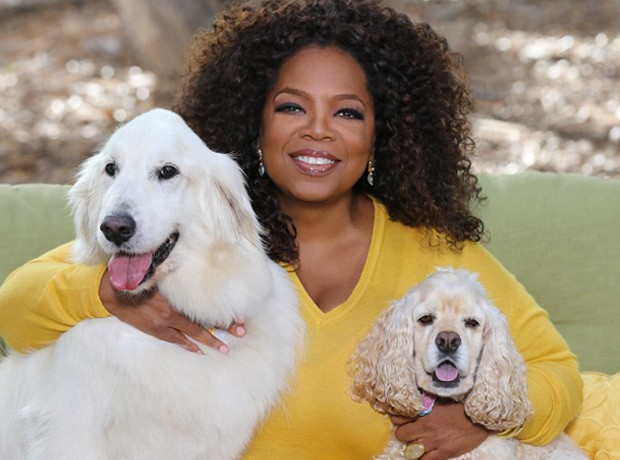 a joyful moment with Oprah + hounds