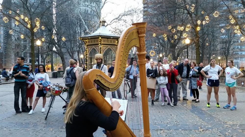 When it's nice outside I bring my harp to Rittenhouse Park