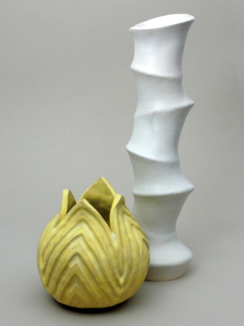 Pod Vase #16 and Rolling Circles Vase #12