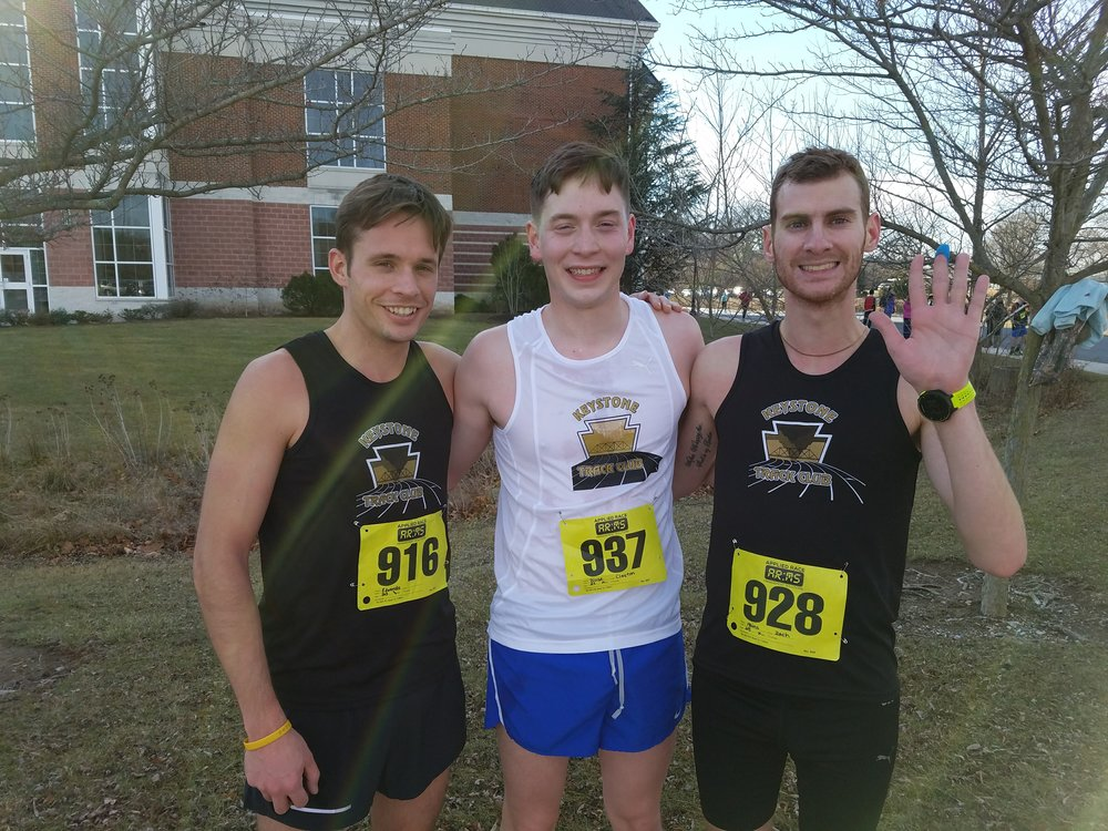 L to R: Brent Edwards, Clayton Blose, and Zach Mains after Race #1 at the Frozen Foot Series in Elizabethtown, PA.