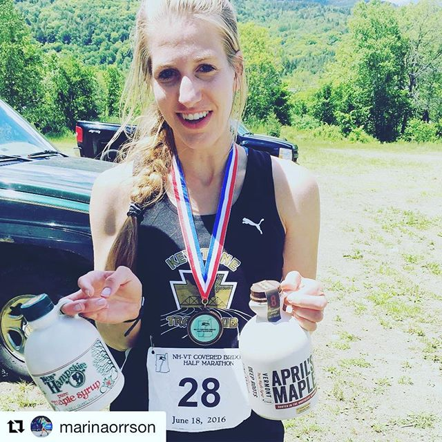 #Repost @marinaorrson with @repostapp ・・・ What do you win for a half marathon that is half in New Hampshire and half in Vermont? A quart of maple of syrup from New Hampshire and a quart of maple syrup from Vermont, of course! John is thrilled. Lol. #run #halfmarathon #ktcelite #pumarunning @keystonetrack