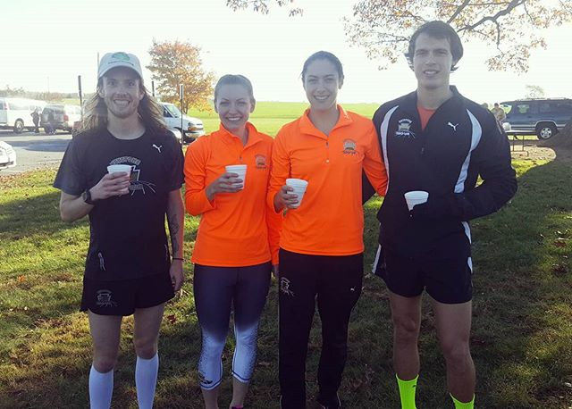 More excited about the free coffee and french vanilla creamer than winning prizes at the Craig Heisey Memorial 5k!  Mike Harnish takes 1st overall male with a time of 15:14.50 and Shawn Lake in 3rd. Cnythia Harnish takes 1st overall female with a time of 19:08.81 and Katie Kravitz 2nd. #ktcelite #pumarunning #pumarunning #feetures #superfeet #keystonetrackclub