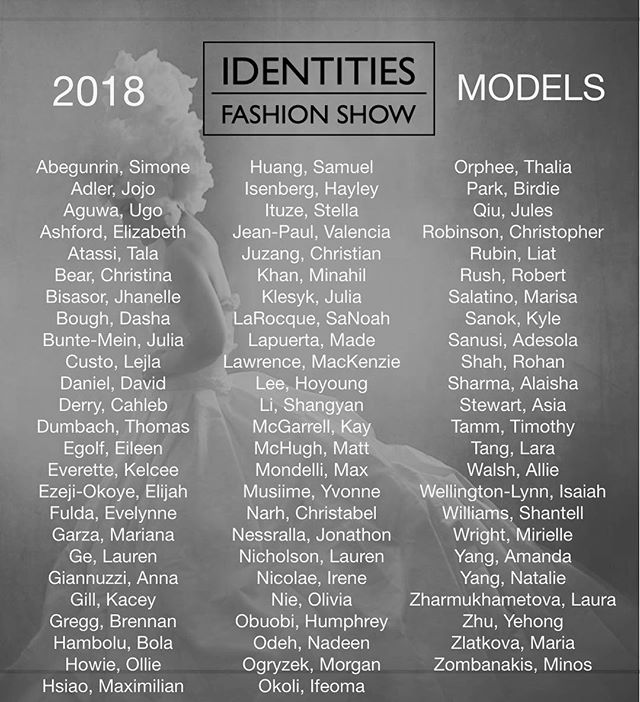 IDENTITIES Fashion Show 2018 Model Roster