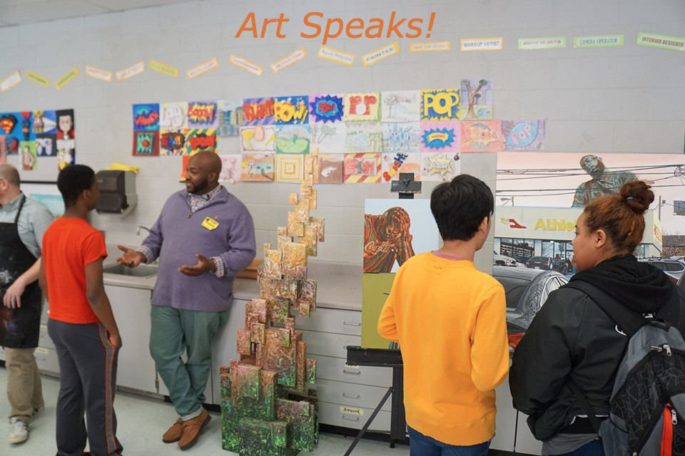 Artist Alfred Conteh engages students in class at Central Gwinnett High School's, Intro to Drawing Class.