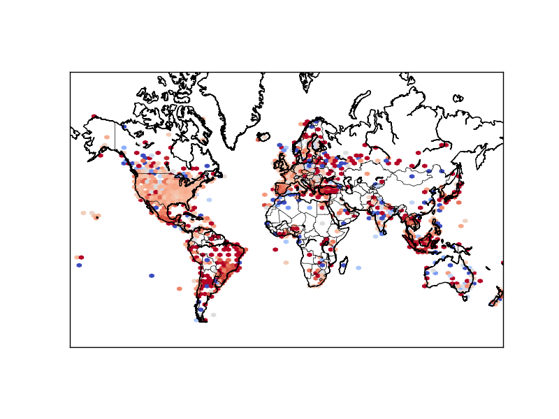 Hexbin map of Twitter sentiments: using  coolwarm  reverse pallet (dark red = -1, dark blue = 1)
